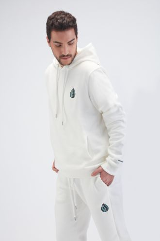 Organic Cotton Logo Embroidery Hoodie Gender-neutral in Off white