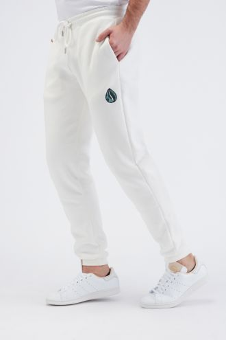 Organic Cotton Logo Embroidery Jogger Pants Gender-neutral in Off white