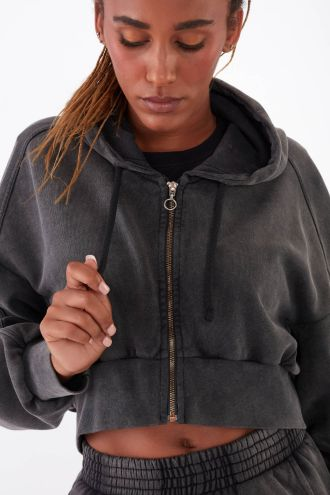 NÜWA Basic Organic full-zip Hoodie in Washed Black