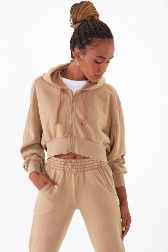 NÜWA Basic Organic full-zip Hoodie in Washed Camel