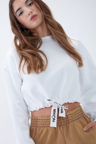 NÜWA Basic Organic Brushed Cropped Sweatshirt in White