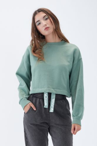 NÜWA Basic Organic Brushed Cropped Sweatshirt in Green