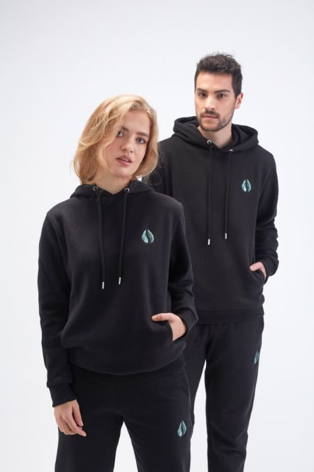 Organic Cotton Logo Embroidery Hoodie Gender-neutral in Black