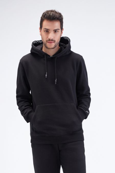 Organic Cotton Brushed-back Hoodie Gender neutral in Black