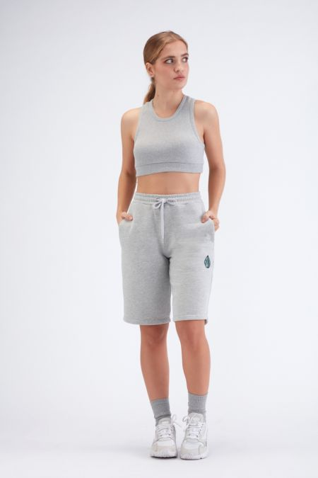 Organic Cotton Logo Embroidery Shorts Gender-neutral - Grey