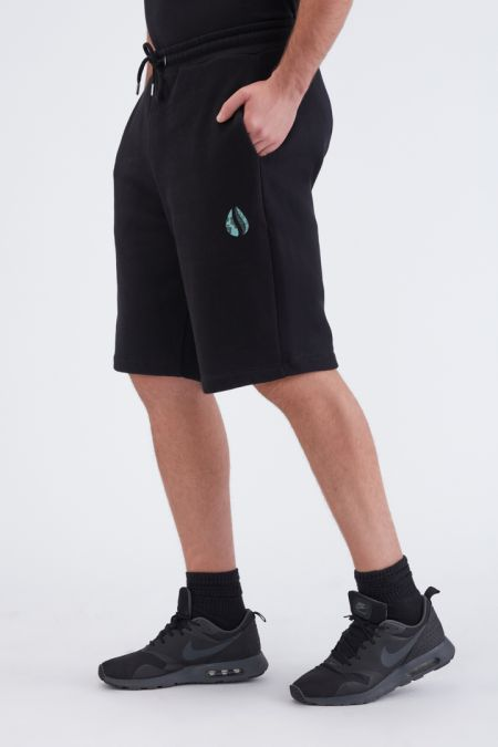 Organic Cotton Logo Embroidery Shorts Gender-neutral in Black