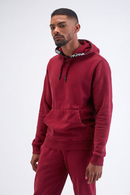 Organic Cotton Brushed-back Hoodie Gender neutral in Bordeaux