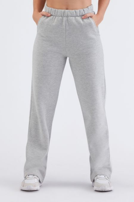 Organic Cotton Brushed Straight Cut Jogger Pants in Grey