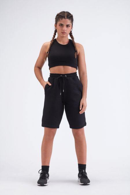 Organic Cotton Logo Embroidery Shorts Gender-neutral - Black