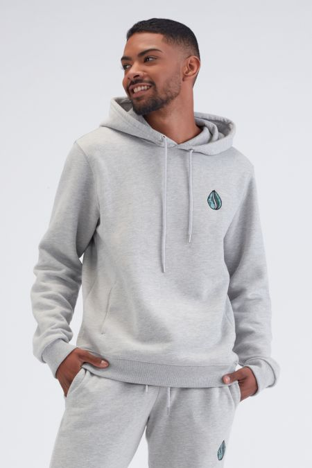 Organic Cotton Logo Embroidery Hoodie Gender-neutral in Grey