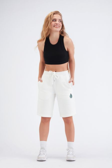 Organic Cotton Logo Embroidery Shorts Gender-neutral - Off White