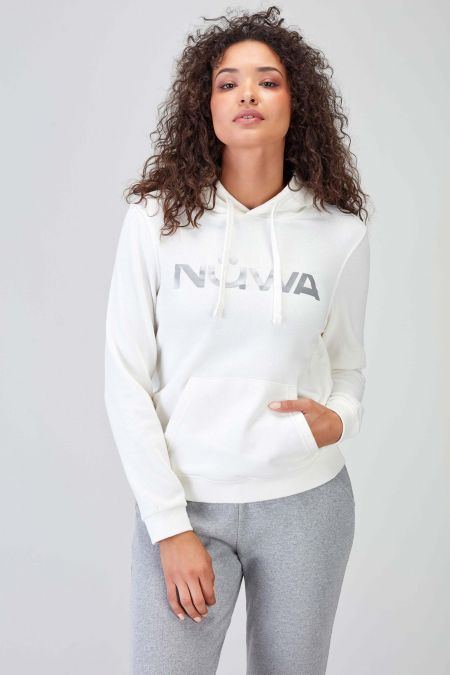 Reflector Logo Natural Sustainable Hoodie Women
