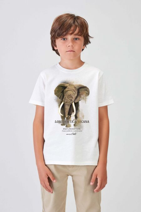#NM ELEPHANT - Recycled T-shirt in Off White