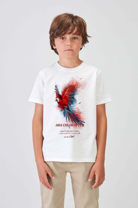#NM MACAW - Recycled T-shirt in Off White