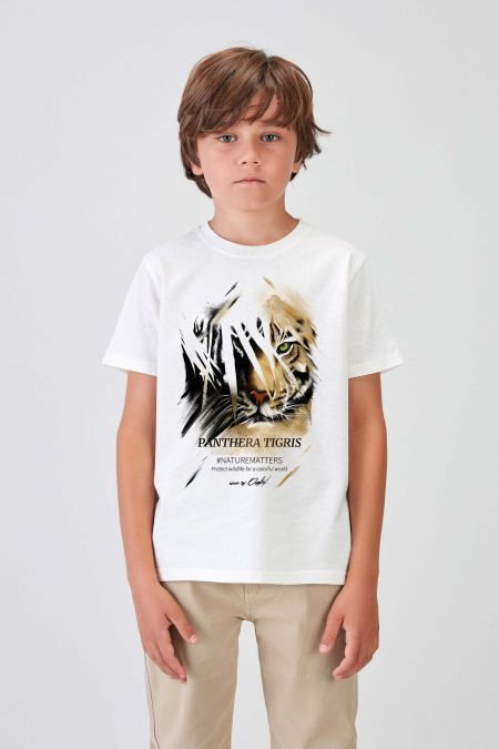 #NM TIGER - Recycled T-shirt in Off White