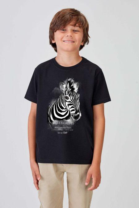 #NM ZEBRA - Recycled T-shirt in Black