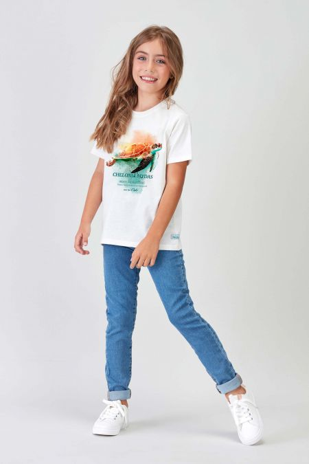 #NM TURTLE - Recycled T-shirt in Off White