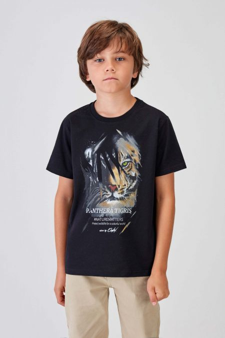 #NM TIGER - Recycled T-shirt in Black