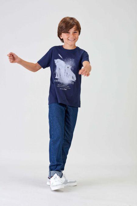 #NM POLAR BEAR - Recycled T-shirt in Navy