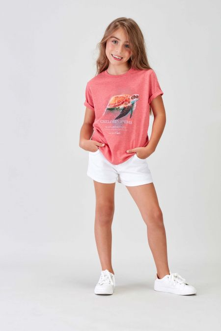 #NM TURTLE - Recycled T-shirt in Coral