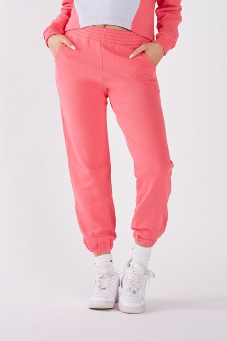 Organic Cotton Lightweight Jogger Pants in Vibrant Pink