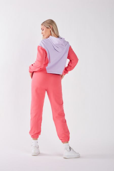 Organic Cotton Lightweight Bicolor Hoodie in Vibrant Pink