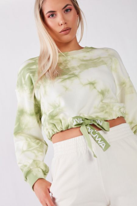 Organic Cotton Lightweight Cropped Sweatshirt in Green Tie Dye
