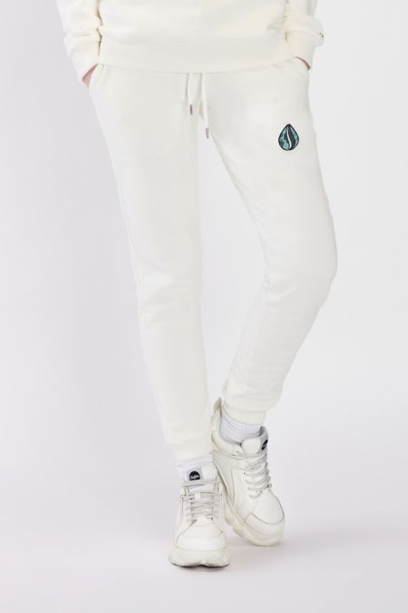 Organic Cotton Logo Embroidery Jogger Pants Gender-neutral - Off white