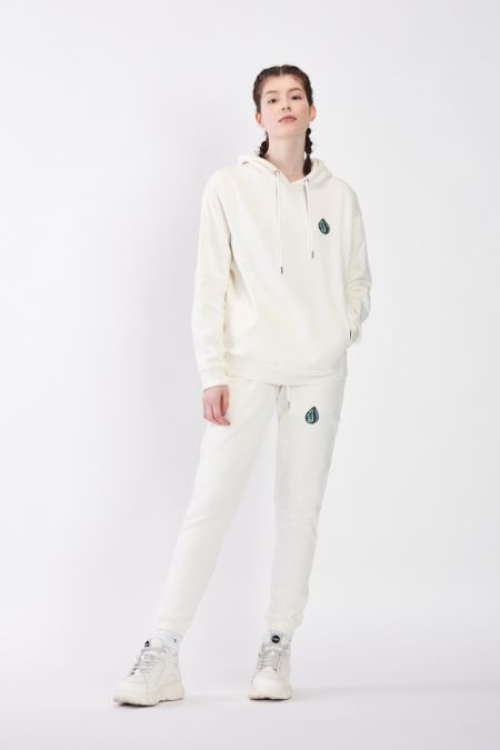 Organic Cotton Logo Embroidery Hoodie Gender-neutral - Off white