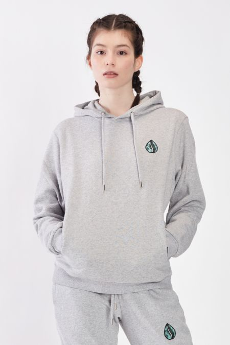 Organic Cotton Logo Embroidery Hoodie Gender-neutral - Grey