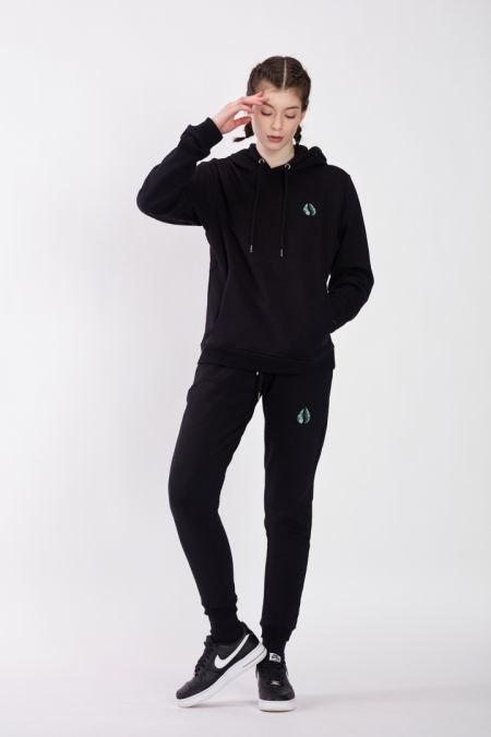 Organic Cotton Logo Embroidery Hoodie Gender-neutral - Black