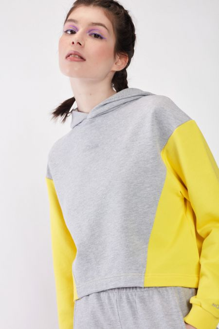 Organic Cotton Lightweight Bicolor Hoodie in Vibrant Yellow
