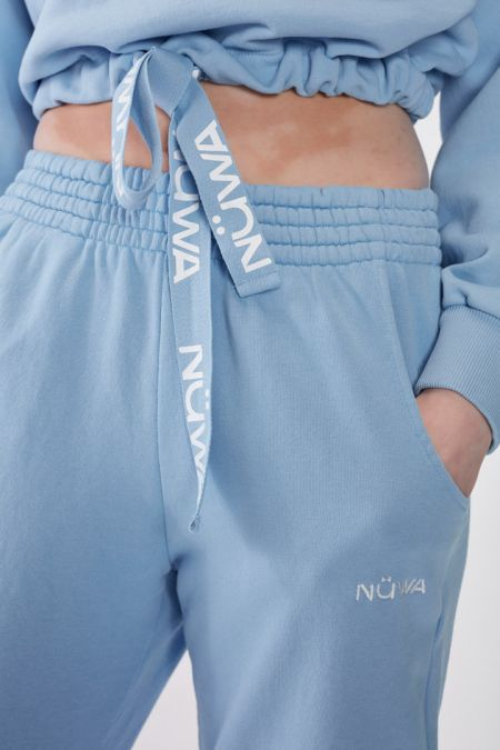 Organic Cotton Lightweight Cropped Sweatshirt in Pale Blue