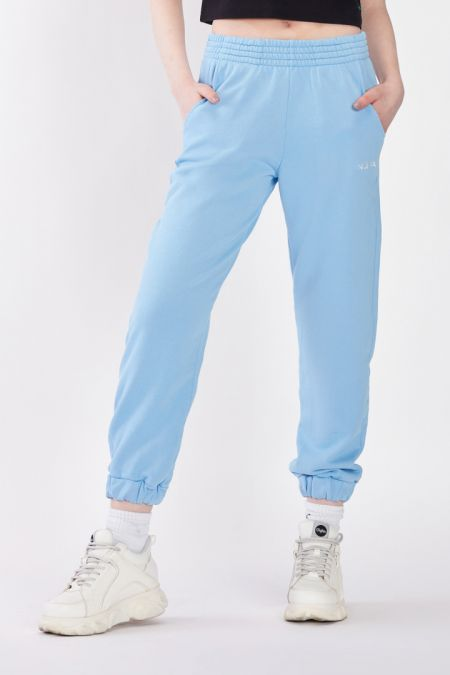 Organic Cotton Lightweight Jogger Pants in Pale Blue