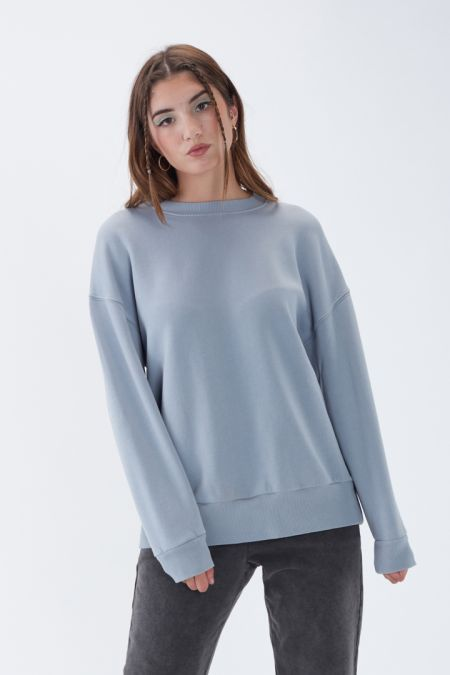 NÜWA Basic Organic Brushed Oversized Sweatshirt in Sleet