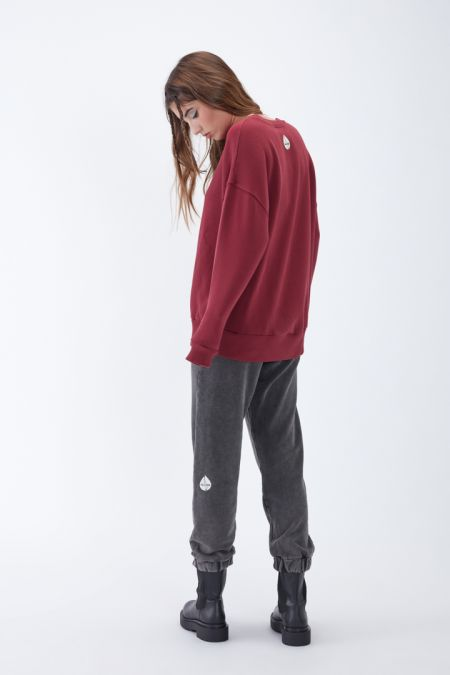 NÜWA Basic Organic Brushed Oversized Sweatshirt in Bordeaux