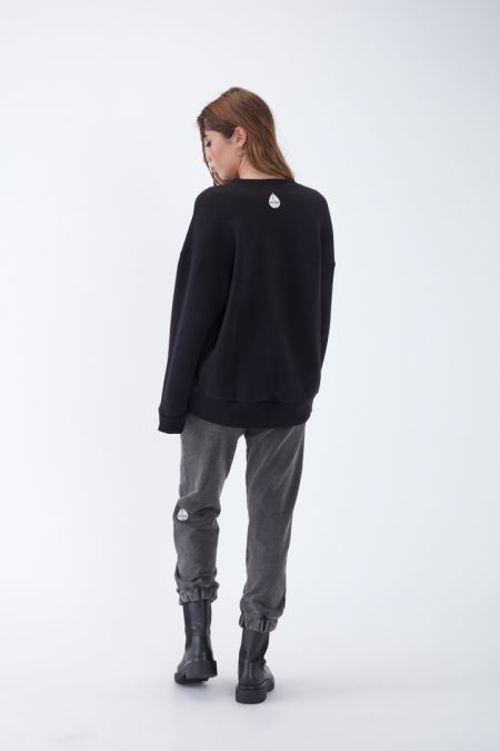 NÜWA Basic Organic Brushed Oversized Sweatshirt in Black