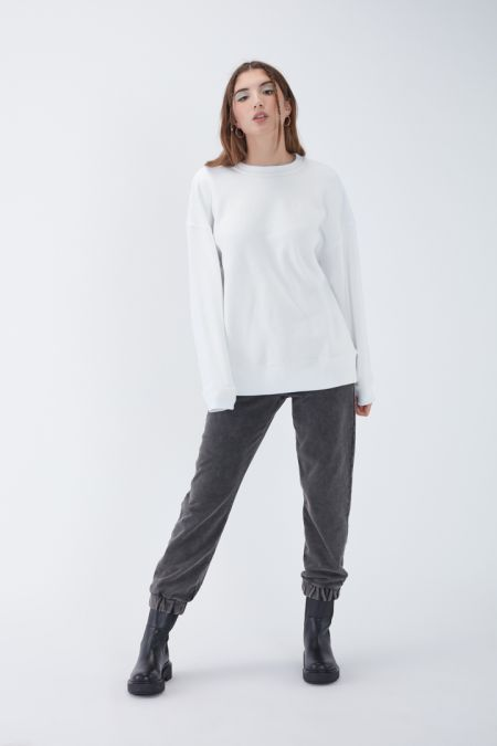 NÜWA Basic Organic Brushed Oversized Sweatshirt in White