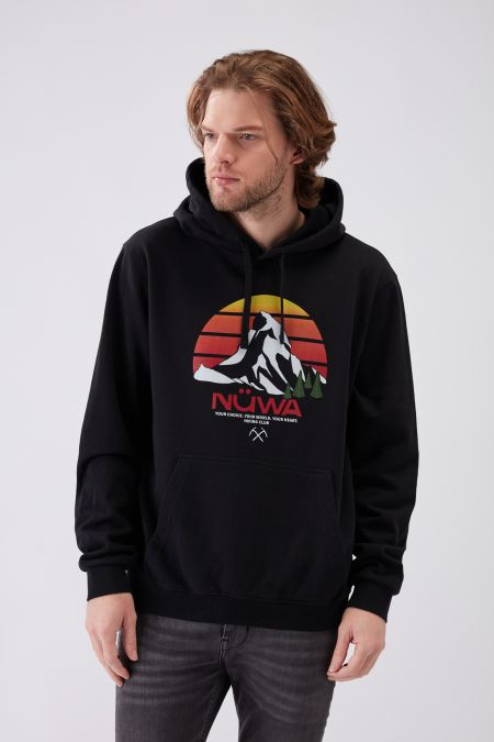 HIKING CLUB Sunset - Recycled Graphic Hoodie in Black