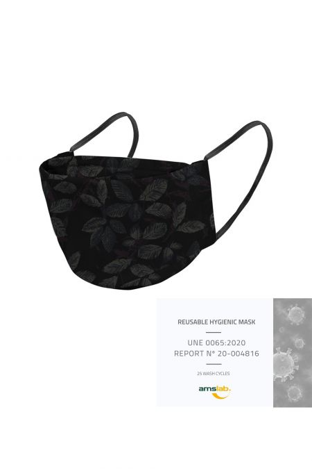 Washable Social Mask - Black Leaves