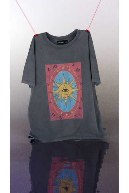 Organic Cotton Graphic T-shirt in Washed Black - Astrology