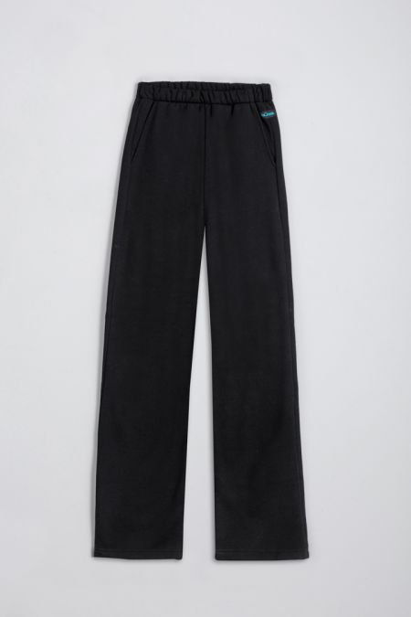 Organic Cotton Brushed Straight Cut Jogger Pants in Black
