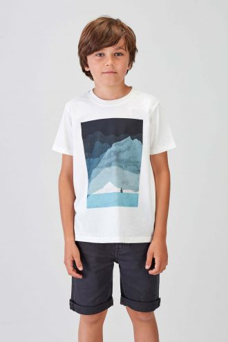 SAILBOAT - Recycled Graphic T-shirt in Off White