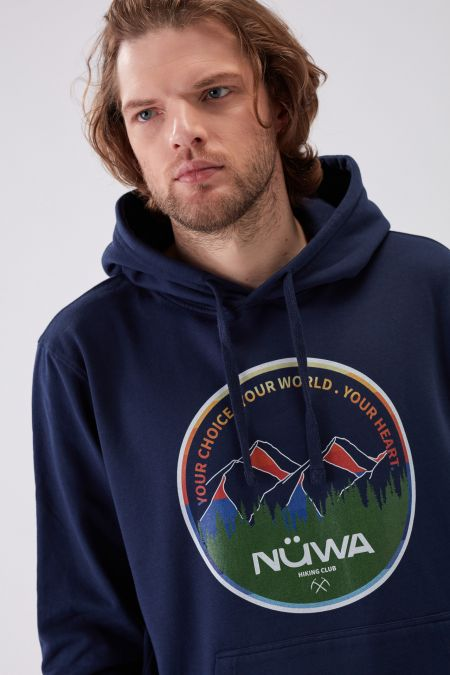 HIKING CLUB Circle - Recycled Graphic Hoodie in Navy